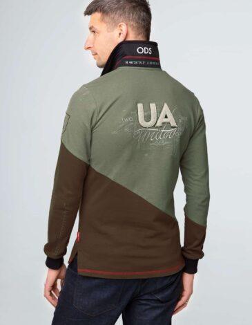 Men's Polo Long Odesa. Color green. Pique fabric: 100% cotton.