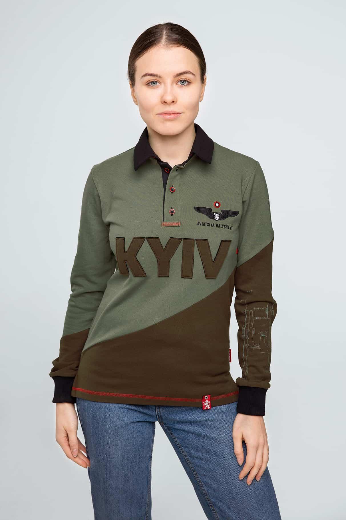Women's Polo Long Kyiv. Color green. Unisex polo long (men's sizes).
