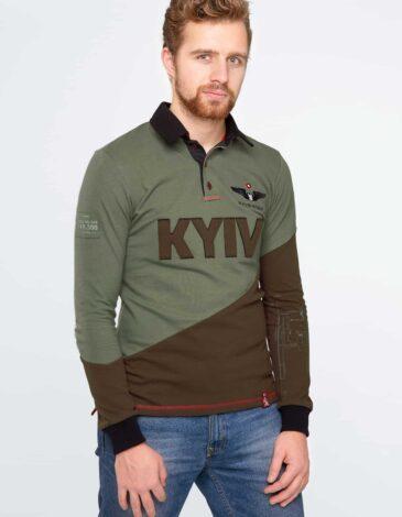 Men's Polo Long Kyiv. Color green.  Technique of prints applied: embroidery, silkscreen printing.