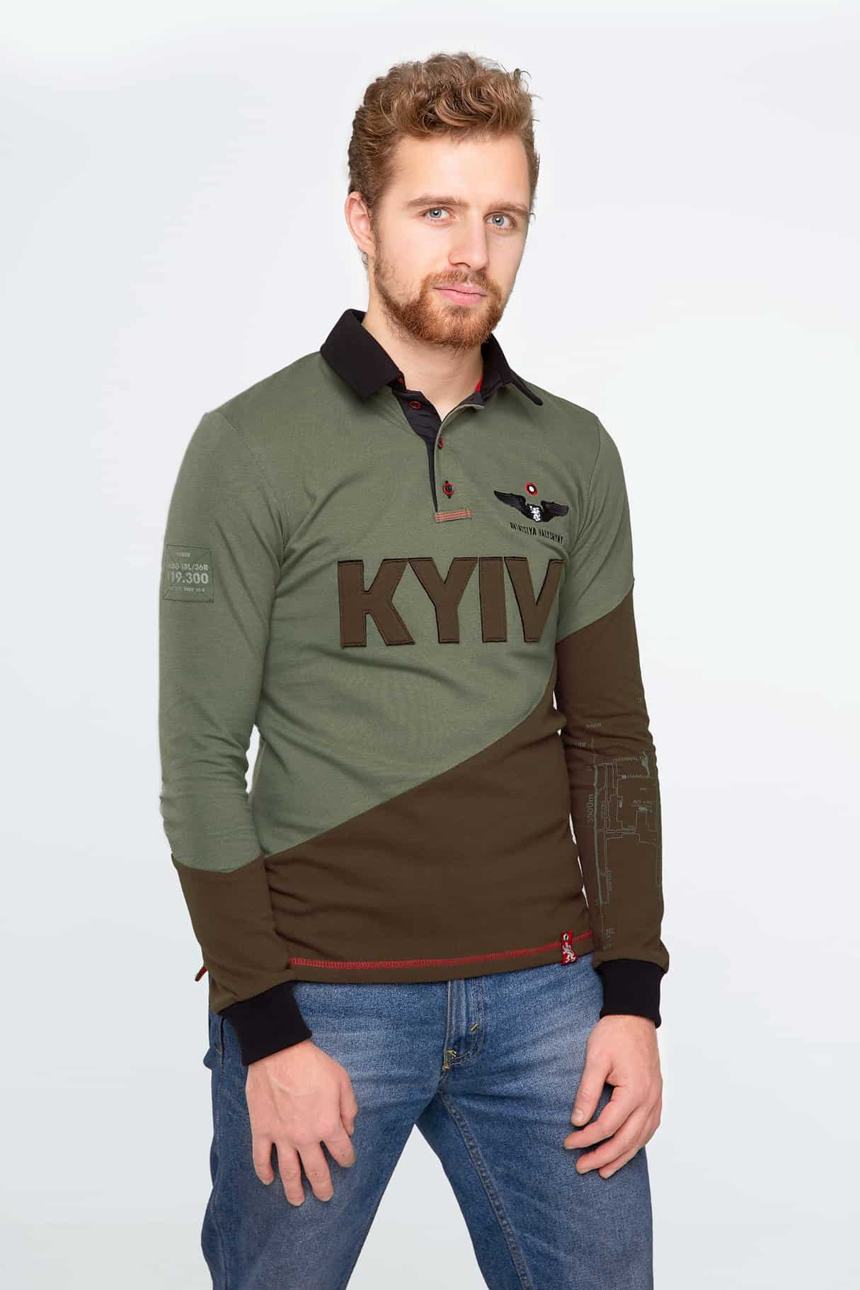 Men's Polo Long Kyiv. Color green. Pique fabric: 100% cotton.
