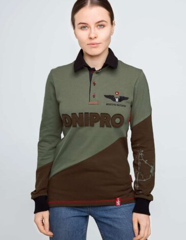 Women's Polo Long Dnipro. Color green. Unisex polo long (men's sizes).