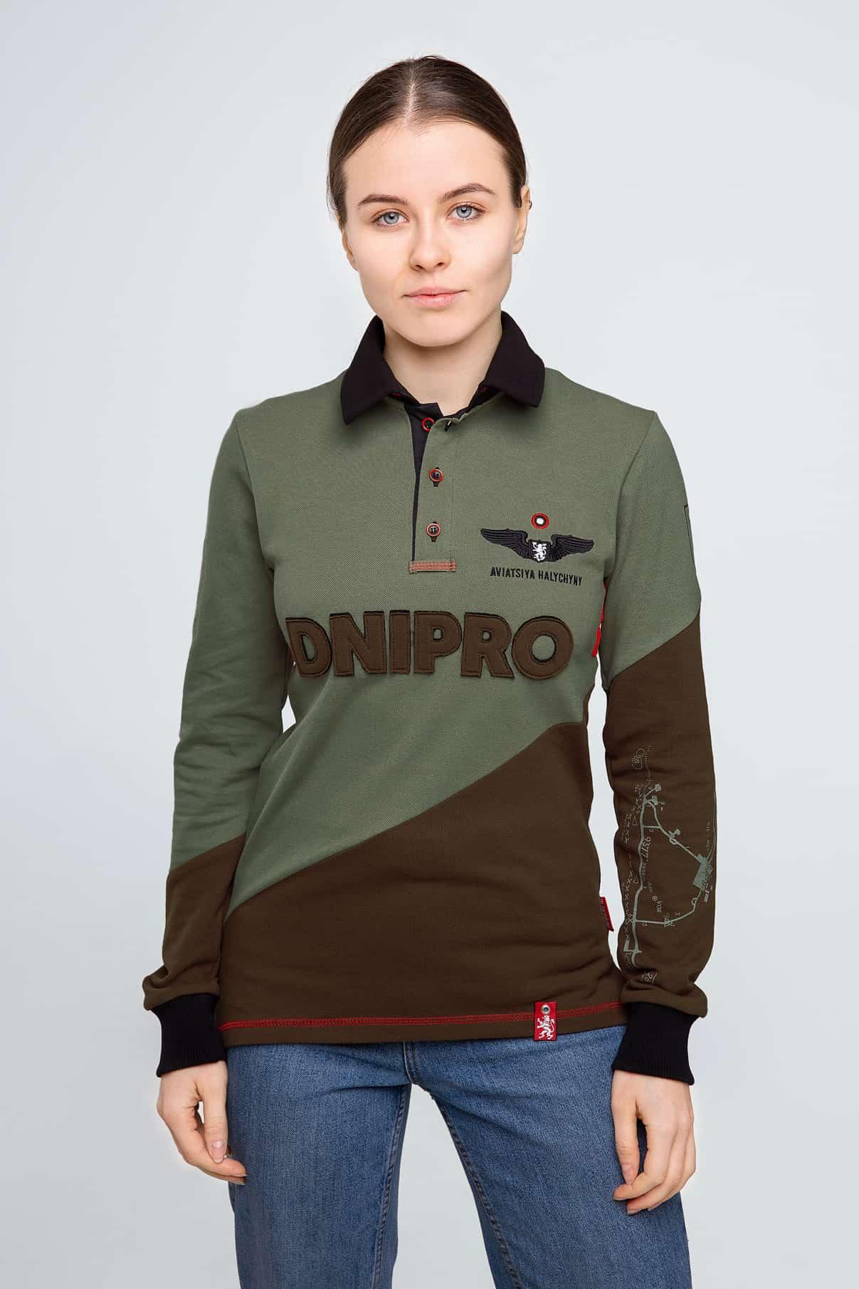 Жіноче Поло-Лонґ Dnipro. Колір зелений. Поло-лонґ унісекс (розміри чоловічі).