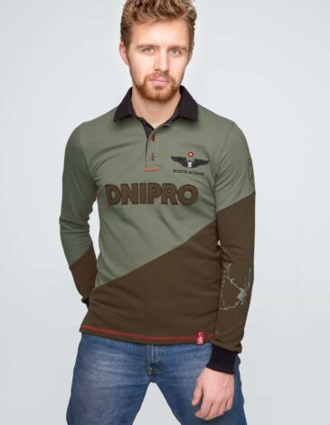 """Men's Polo Long Dnipro. Color green. There are three-dimensional letters UA, an embroidered inscription """"United"""" and schematic routes of the airplanes between various airports of the world on the back."""