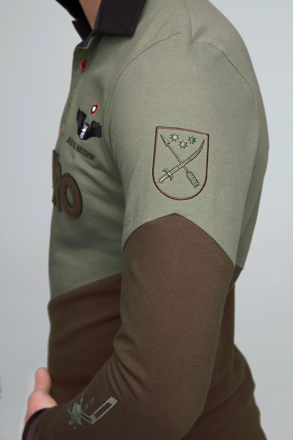 Жіноче Поло-Лонґ Dnipro. Колір зелений.  Технологія нанесення зображень: вишивка, шовкодрук.
