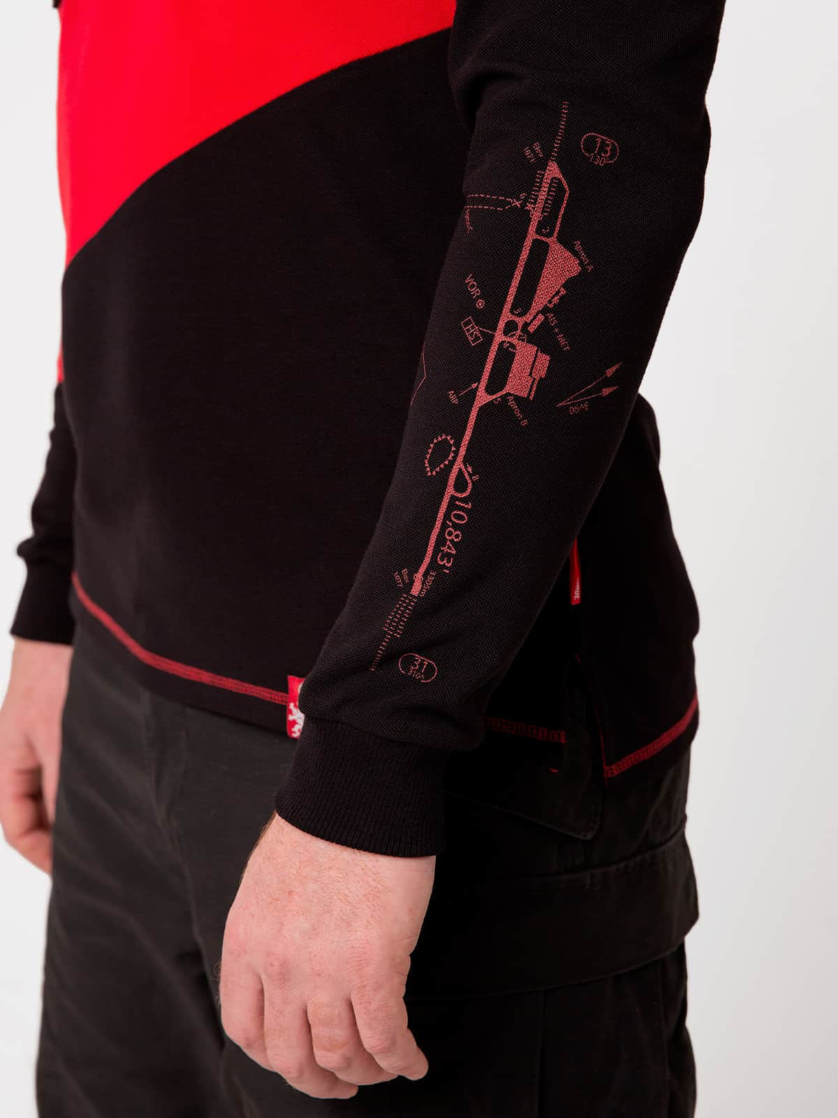 Men's Polo Long Lviv. Color red. 5.