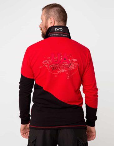 Чоловіче Поло-Лонґ Lviv. Колір червоний.  Технологія нанесення зображень: вишивка, шовкодрук.
