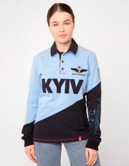 Women's Polo Long Kyiv. Color sky blue. Поло-лонґ унісекс (розміри чоловічі).
