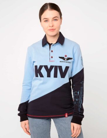 Women's Polo Long Kyiv. Color sky blue. Unisex polo long (men's sizes).