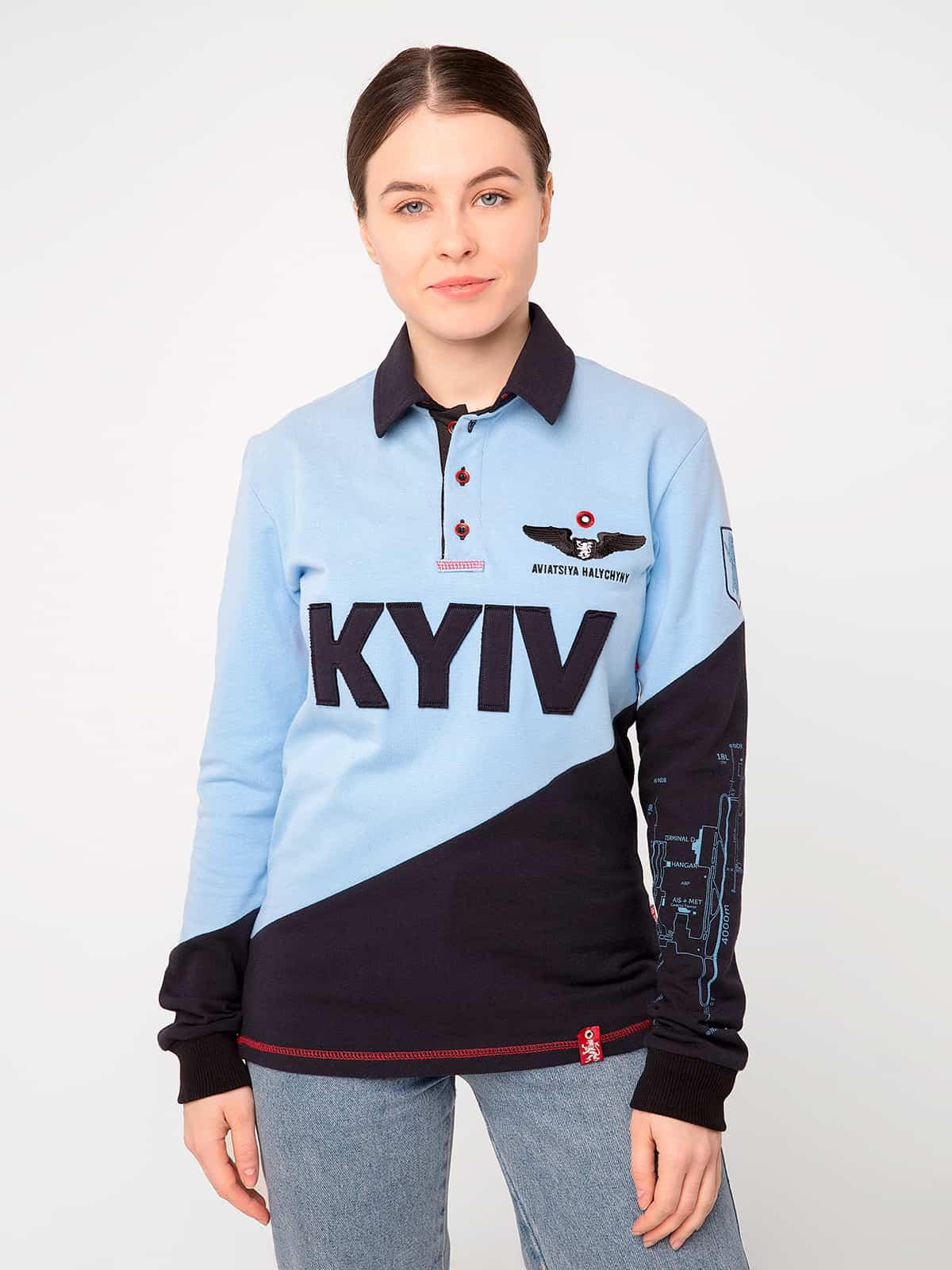 Women's Polo Long Kyiv. Color sky blue. Unisex polo long (men's sizes).