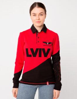 Women's Polo Long Lviv. Color red.  Не варто переживати за універсальний розмір.