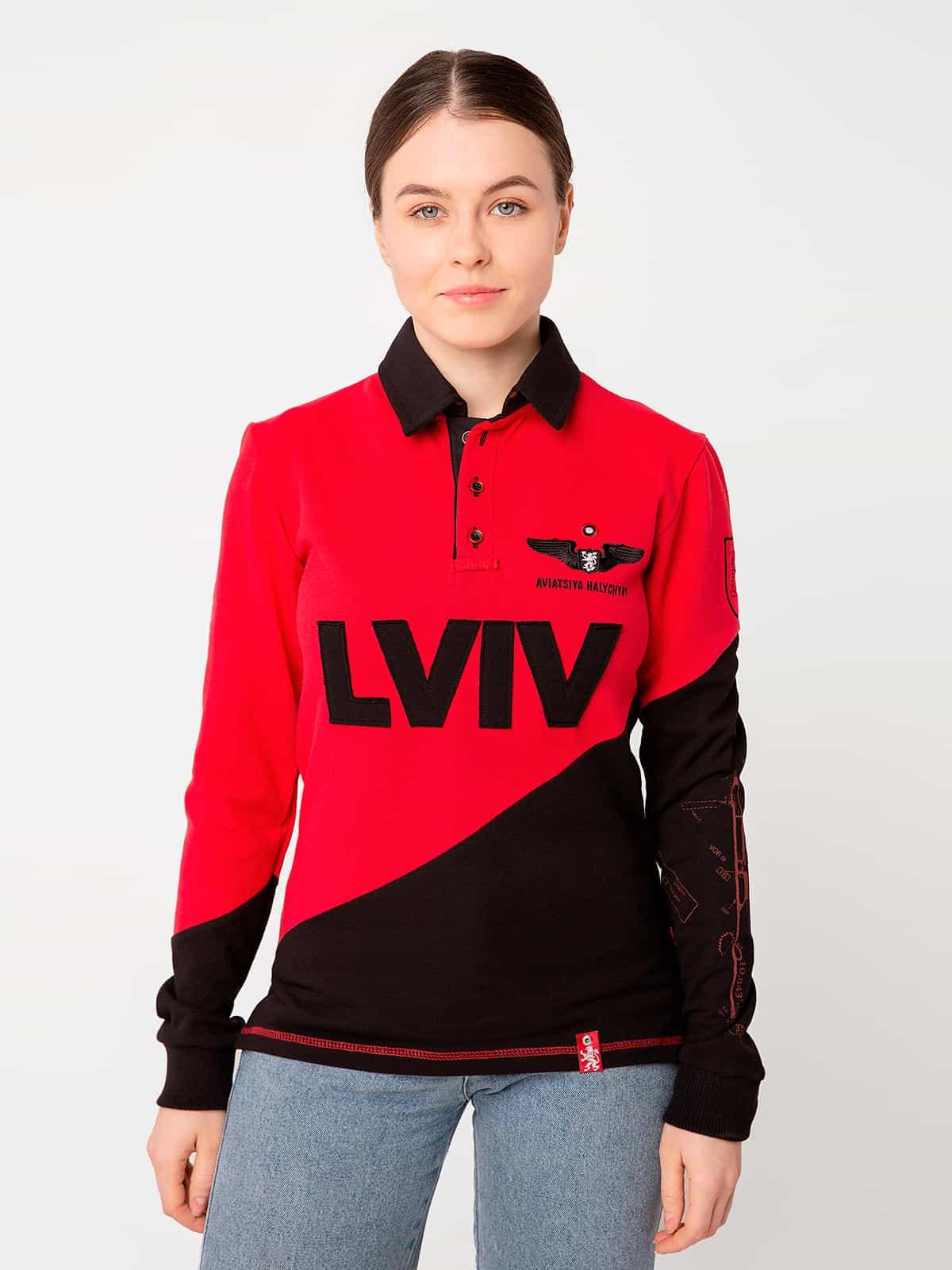 Жіноче Поло-Лонґ Lviv. Колір червоний. Поло-лонґ унісекс (розміри чоловічі).