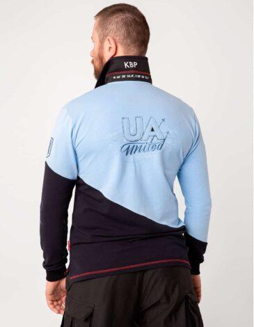 Men's Polo Long Kyiv. Color sky blue. Pique fabric: 100% cotton.