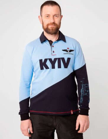 Чоловіче Поло-Лонґ Kyiv. Колір блакитний. Тканина піке: 100% бавовна.