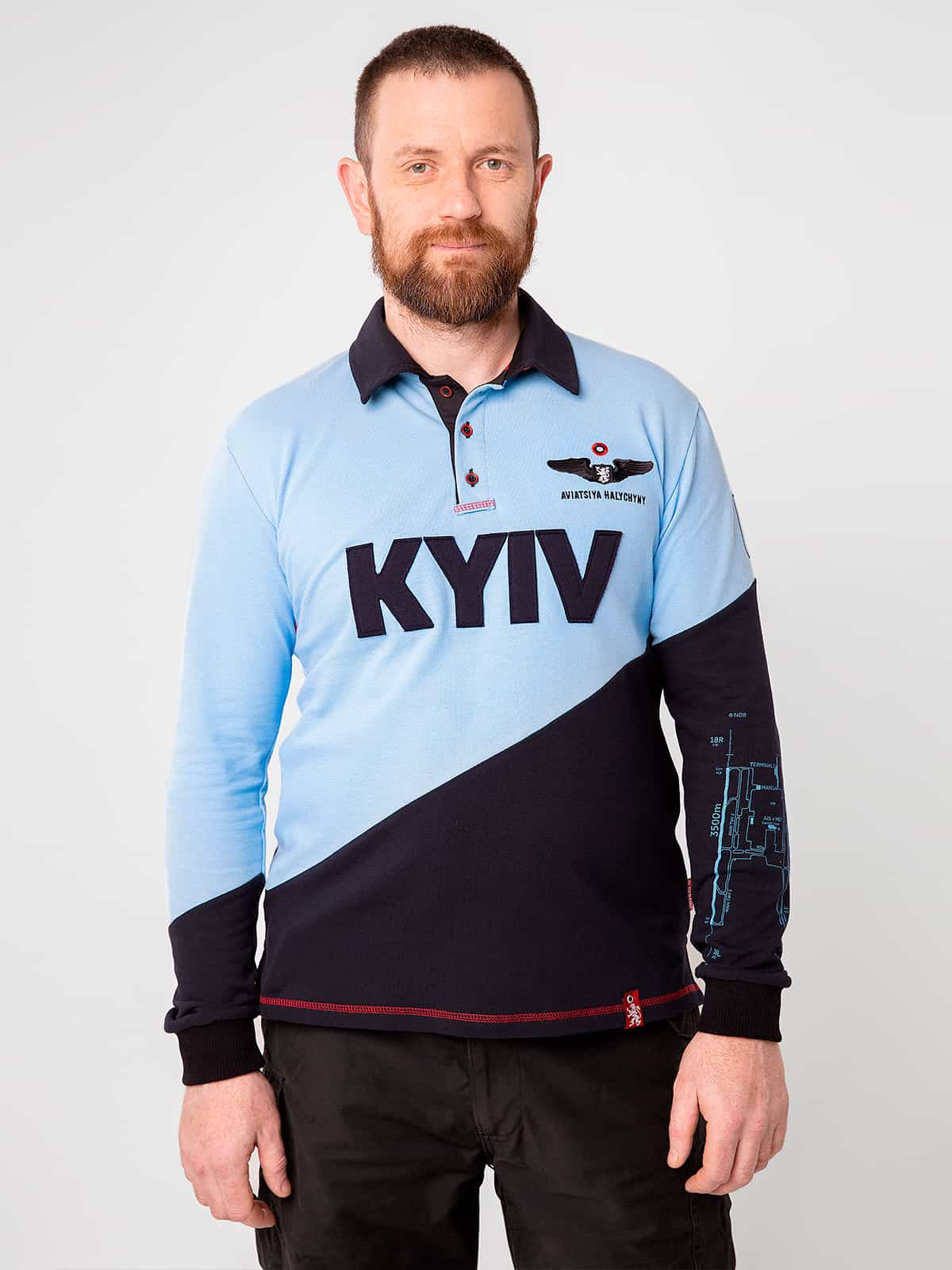 Men's Polo Long Kyiv. Color sky blue. Pique fabric: 100% cotton.