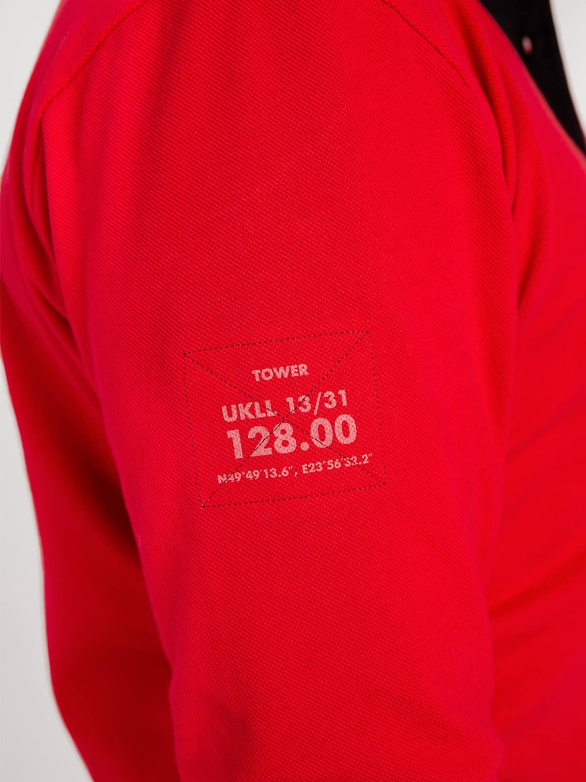 Men's Polo Long Lviv. Color red.  Size worn by the model: М Height of the model: 182 cm.