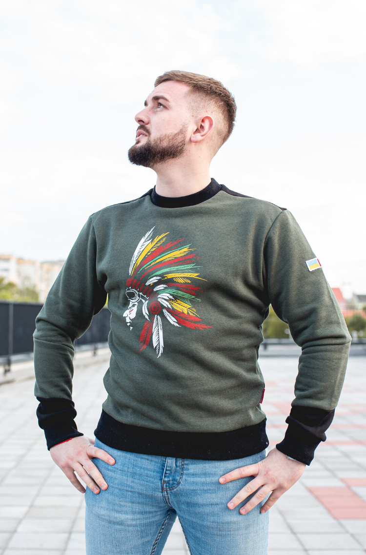 Men's Sweatshirt Indian. Color khaki.  The color shades on your screen may differ from the original color.