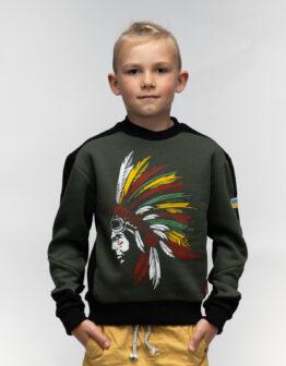 Kids Sweatshirt Indian. Color khaki. Світшот: унісекс, добре пасує і хлопцям, і дівчатам.