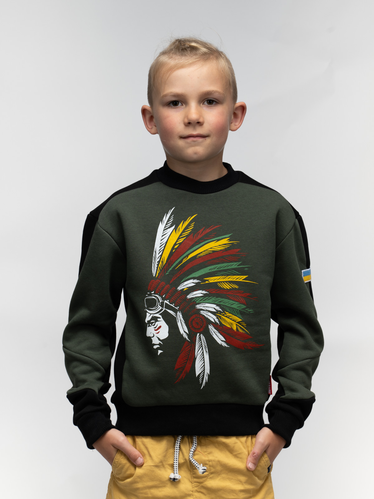 Kids Sweatshirt Indian. Color khaki. Sweatshirt: unisex, well suited for both boys and girls.