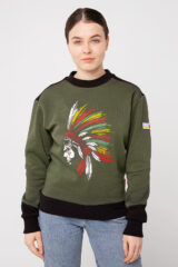 Women's Sweatshirt Indian. Three-cord thread fabric: 77% cotton, 23% polyester.