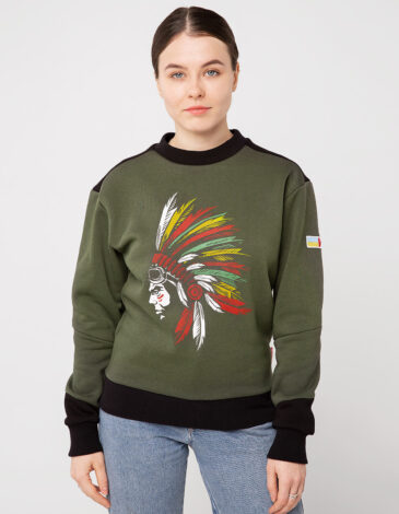 Women's Sweatshirt Indian. Color khaki. Three-cord thread fabric: 77% cotton, 23% polyester.
