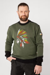 Men's Sweatshirt Indian. Three-cord thread fabric: 79% cotton, 21% polyester.