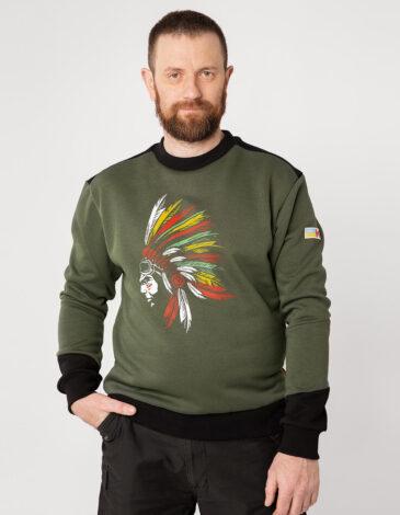 Чоловічий Світшот Індіанець. Колір хакі. Тканина тринитка: 79% бавовна, 21% поліефр.