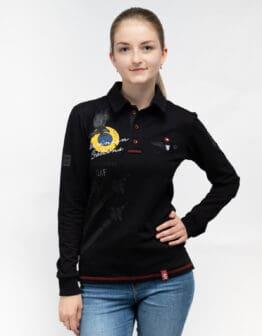 Women's Polo Long Ukrainian Falcons. Color black. Поло-лонґ унісекс (розміри чоловічі).