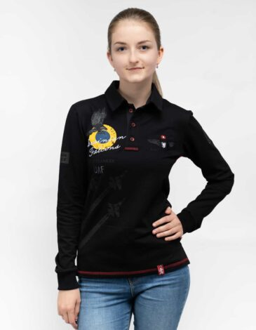 Women's Polo Long Ukrainian Falcons. Color black. Unisex polo long (men's sizes).