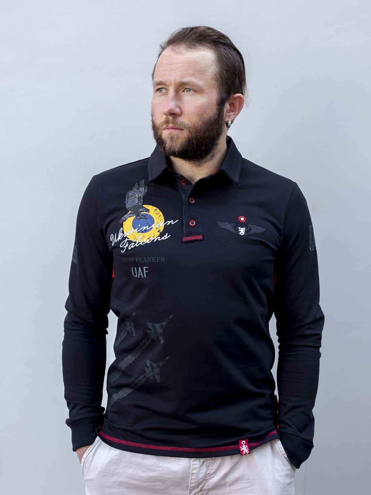 Men's Polo Long Ukrainian Falcons. Color black. Pique fabric: 100% cotton.