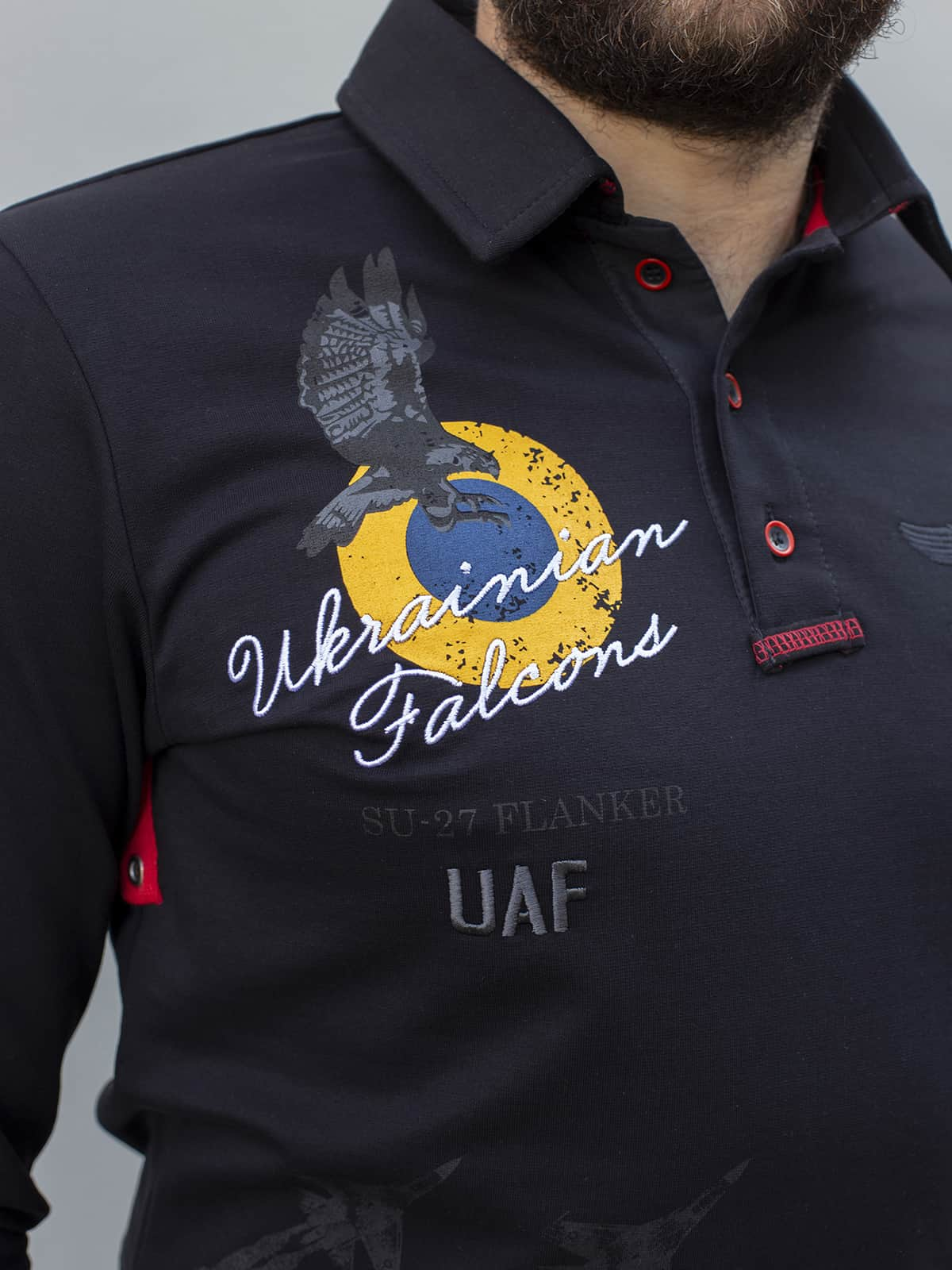 Men's Polo Long Ukrainian Falcons. Color black. .