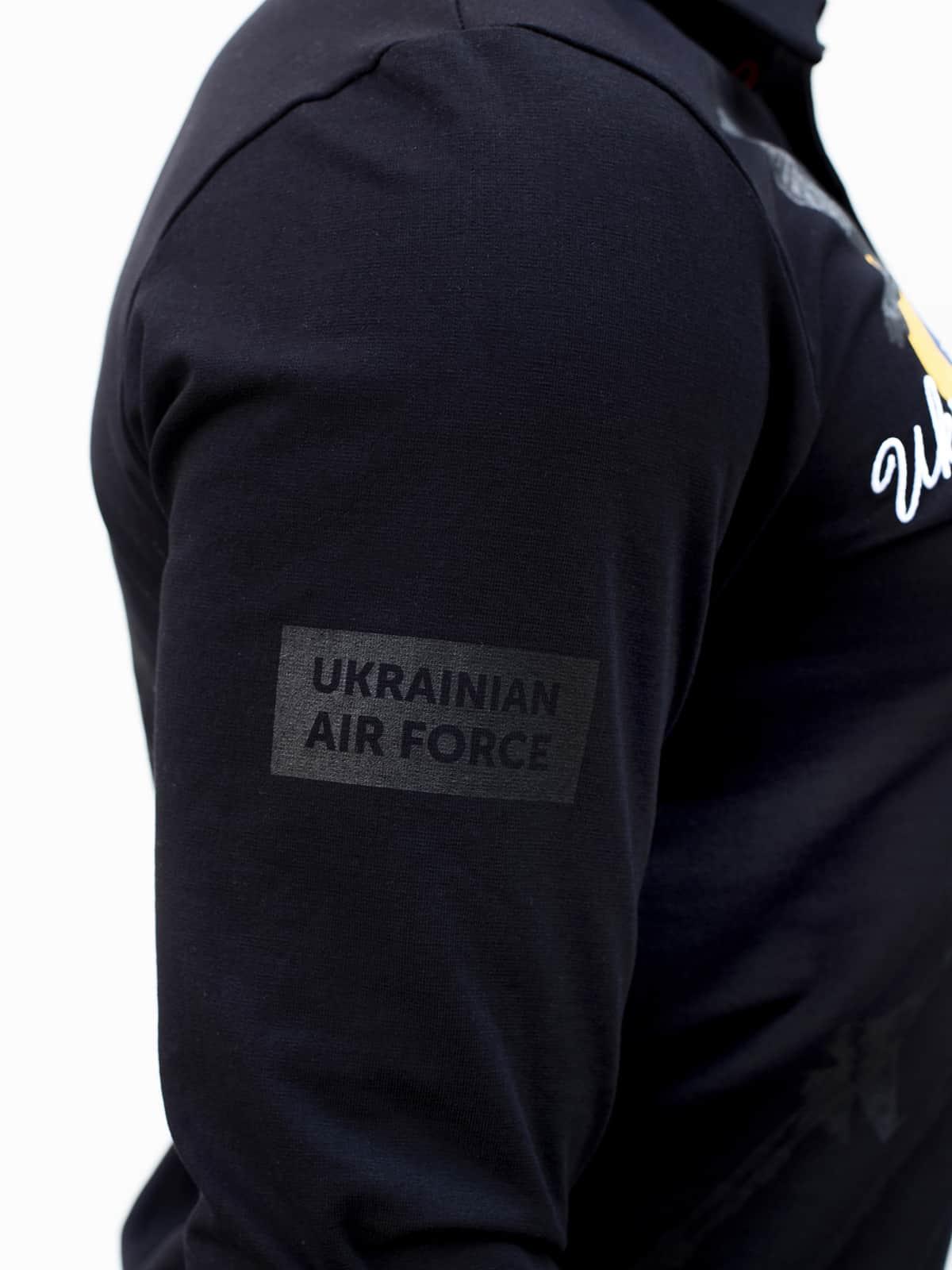Men's Polo Long Ukrainian Falcons. Color black.  Size worn by the model: L.