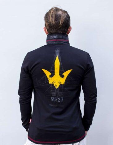 Men's Polo Long Ukrainian Falcons. Color black. Pique fabric: 100% cotton.
