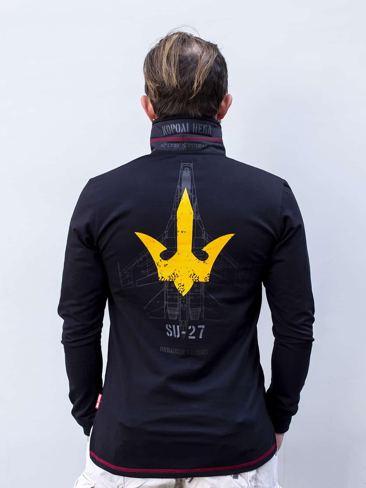 Men's Polo Long Ukrainian Falcons. Color black.  Technique of prints applied: embroidery, silkscreen printing.