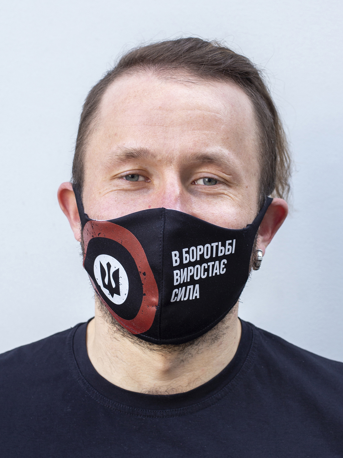 Mask Rondel. Color black. Reusable protective mask with a pocket for a replaceable filter Basic material (outer layer): scuba fabric (rayon 65%, lycra 5%, polyester 30%) – light-weight, elastic and smooth material that dries quickly and fits the face line effectively.
