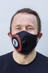 Mask Lion (Roundel). Reusable protective mask with a pocket for a replaceable filter Basic material (outer layer): scuba fabric (rayon 65%, lycra 5%, polyester 30%) – light-weight, elastic and smooth material that dries quickly and fits the face line effectively.