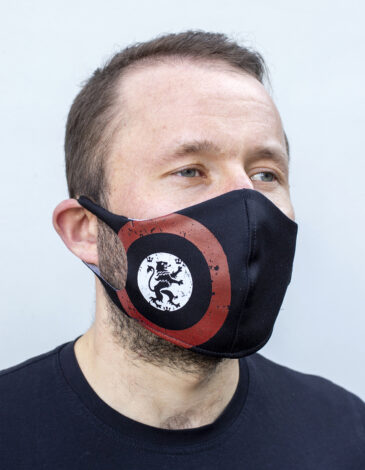 Mask Lion (Roundel). Color black. Reusable protective mask with a pocket for a replaceable filter Basic material (outer layer): scuba fabric (rayon 65%, lycra 5%, polyester 30%) – light-weight, elastic and smooth material that dries quickly and fits the face line effectively.