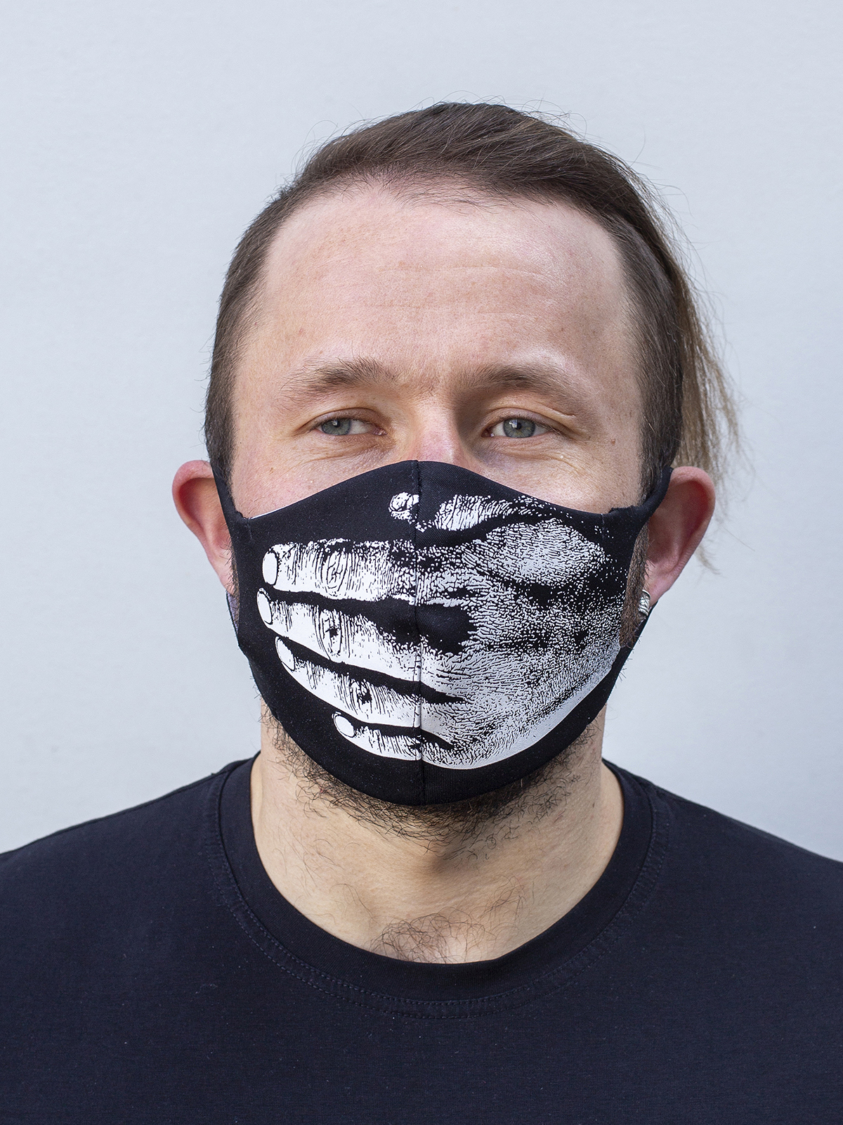 Mask Hand. Color black. Reusable protective mask with a pocket for a replaceable filter Basic material (outer layer): scuba fabric (rayon 65%, lycra 5%, polyester 30%) – light-weight, elastic and smooth material that dries quickly and fits the face line effectively.