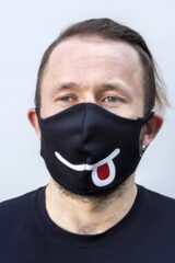 Mask Smile. Reusable protective mask with a pocket for a replaceable filter Basic material (outer layer): scuba fabric (rayon 65%, lycra 5%, polyester 30%) – light-weight, elastic and smooth material that dries quickly and fits the face line effectively.