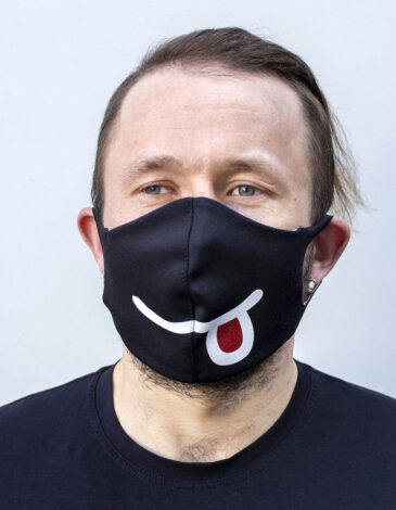 Mask Smile. Color black. Reusable protective mask with a pocket for a replaceable filter Basic material (outer layer): scuba fabric (rayon 65%, lycra 5%, polyester 30%) – light-weight, elastic and smooth material that dries quickly and fits the face line effectively.