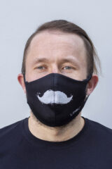 Mask Mustache. Reusable protective mask with a pocket for a replaceable filter Basic material (outer layer): scuba fabric (rayon 65%, lycra 5%, polyester 30%) – light-weight, elastic and smooth material that dries quickly and fits the face line effectively.
