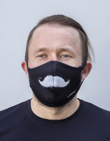 Mask Mustache. Color black. Reusable protective mask with a pocket for a replaceable filter Basic material (outer layer): scuba fabric (rayon 65%, lycra 5%, polyester 30%) – light-weight, elastic and smooth material that dries quickly and fits the face line effectively.