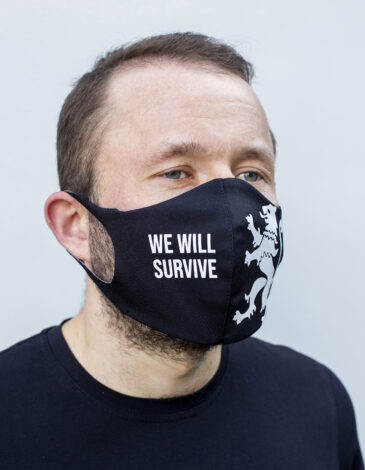 Mask Lion (We Will Survive). Color black. Reusable protective mask with a pocket for a replaceable filter Basic material (outer layer): scuba fabric (rayon 65%, lycra 5%, polyester 30%) – light-weight, elastic and smooth material that dries quickly and fits the face line effectively.