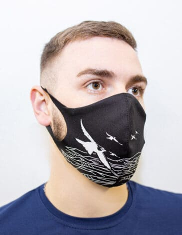 Mask Mountains. Color black. Reusable protective mask with a pocket for a replaceable filter Basic material (outer layer): scuba fabric (rayon 65%, lycra 5%, polyester 30%) – light-weight, elastic and smooth material that dries quickly and fits the face line effectively.