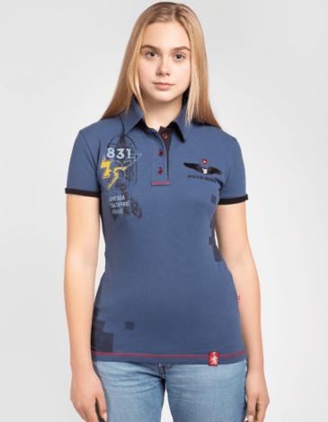 Women's Polo Shirt 831 Brigade. Color denim. Pique fabric: 100% cotton.