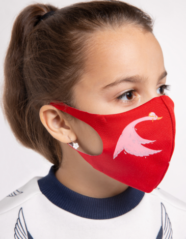 Kids Mask Goose. Color red. Reusable protective mask with a pocket for a replaceable filter Basic material (outer layer): scuba fabric (rayon 65%, lycra 5%, polyester 30%) – light-weight, elastic and smooth material that dries quickly and fits the face line effectively.