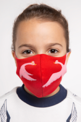 Kids Mask Goose. Reusable protective mask with a pocket for a replaceable filter Basic material (outer layer): scuba fabric (rayon 65%, lycra 5%, polyester 30%) – light-weight, elastic and smooth material that dries quickly and fits the face line effectively.