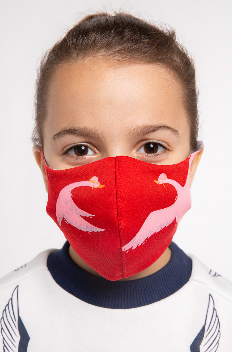 Kids Mask Goose. Color red.  The cuts of the straps are soft and raw.