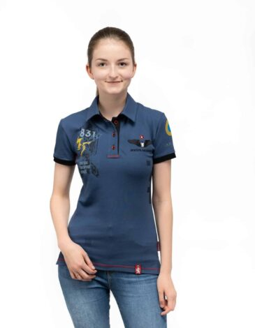 Women's Polo Shirt 831 Brigade. Color denim. Pique fabric: 100% cotton.