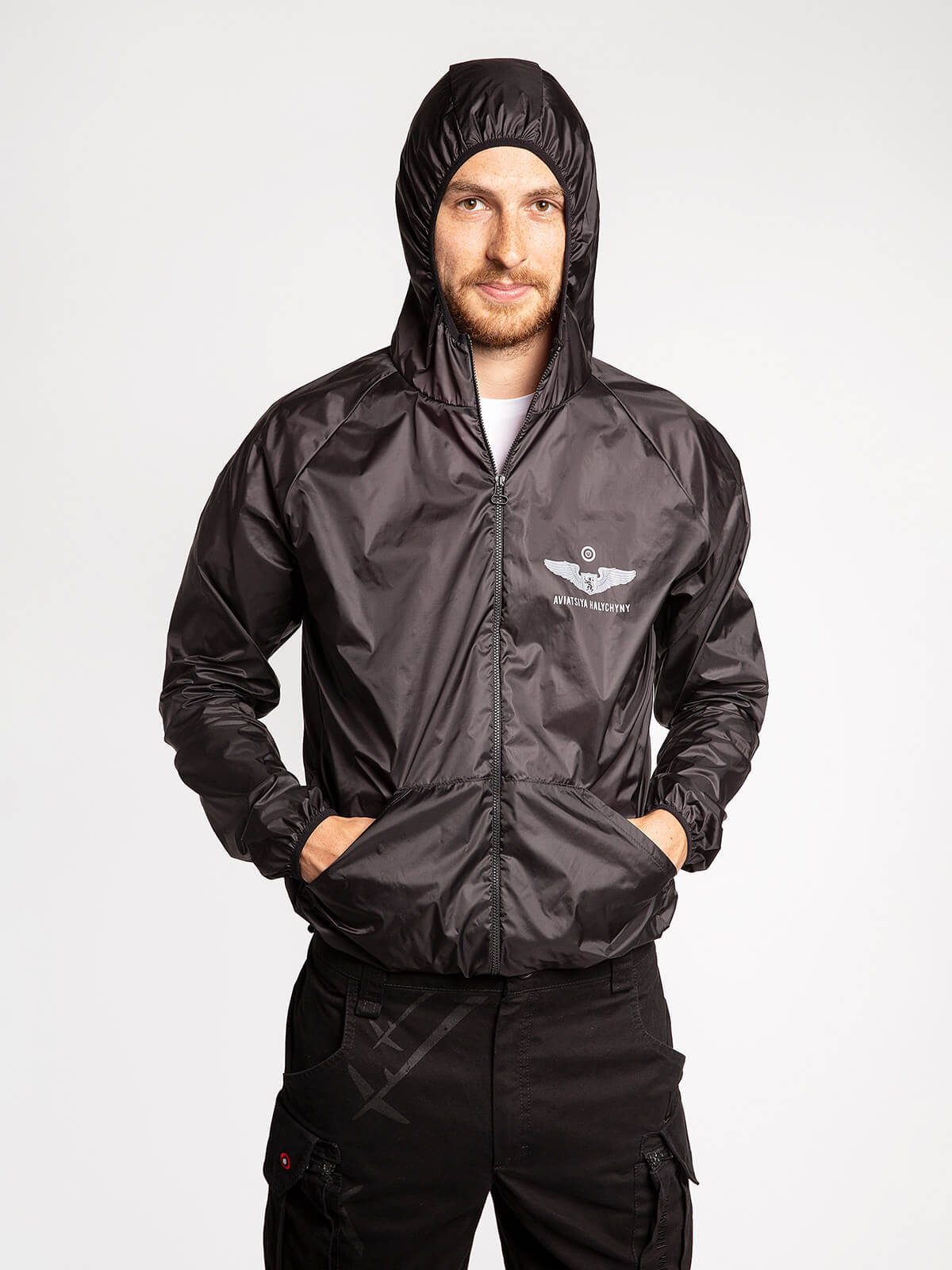 """Windbreaker And Fanny Pack Set """"have A Nice Flight"""". Color black. 5."""