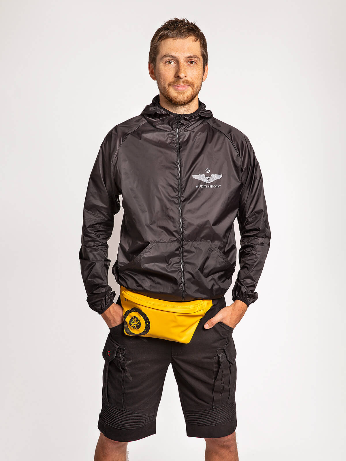 """Windbreaker And Fanny Pack Set """"have A Nice Flight"""". Color black. ."""